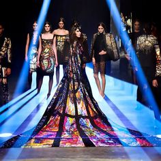 The highlight of the annual fashion showcase in Dubai is undoubtedly the presentation by Filipino designer Michael Cinco, of America's Next Top Model fame, and this season he didn't fail to disappoint. His latest collection, dubbed 'The Impalpable Dream of Sainte-Chapelle' saw several pieces reminiscent of stained glass designs of a church which incidentally was the setting for the runway show.