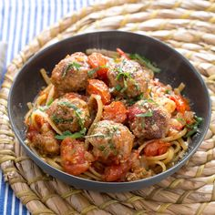Turkey Meatballs  Linguine with Fresh Tomato Sauce  Pecorino Cheese