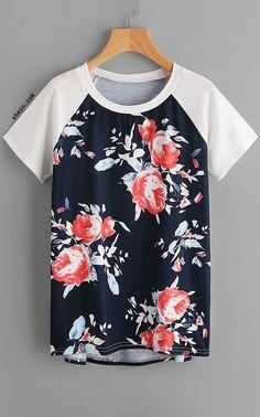 Floral Print Raglan Sleeve Dip Hem Tee