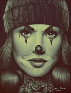 OG Payasa by Spider Latina Payaso Mime Clown Woman Tattoo Canvas Fine Art Print