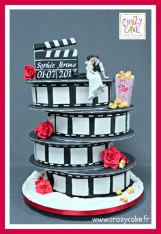 Cinema wedding cake by Crazy Cake - http://cakesdecor.com/cakes/288498-cinema-wedding-cake