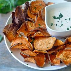 Baked Sweet Potato Chips with Garlic Aioli Dipping Sauce makes a healthy and delicious appetizer, snack, or even a side dish