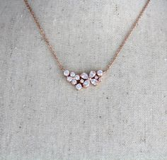 Rose Gold bridal necklace Bridesmaid necklace Bridal jewelry Rose Gold jewelry Wedding necklace Dainty necklace for Bride Wedding gift Gold Wedding Jewelry, Rose Gold Jewelry, Diamond Jewelry, Rose Gold Necklaces, Indian Bridal Jewelry Sets, Diamond Necklace Set, Bridal Accessories, Pearl Jewelry, Jewelry Necklaces