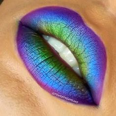 Purple, blue, green lips