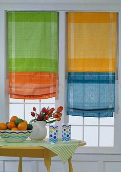 Tea Towel Roman Shades - Use Roman-shade tape from a fabrics store and follow the manufacturer's instructions to attach and thread the shade-and-blind cords. The top of each shade is stapled to a 1x2-inch board that can be mounted in the window on L brackets or with screws.