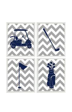 Golf Wall Art Print - Chevron Gray Navy Blue Nursery Preppy Art - Golf Club Cart - Gift Golfer Boy Man Room Dorm Sports Home Decor - 4 8x10