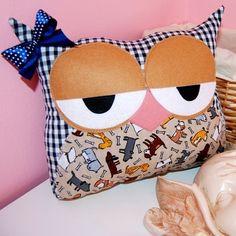 Sleepyhead the Owl Pillow by MikasoArt on Etsy, $25.00