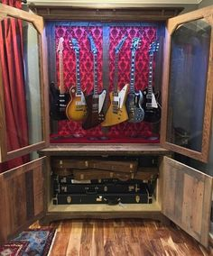 Oak Barn Wood Guitar Display Cabinets