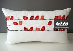Birds Linen Pillow Cover  by sukanart on Etsy - love the birds at different angles!