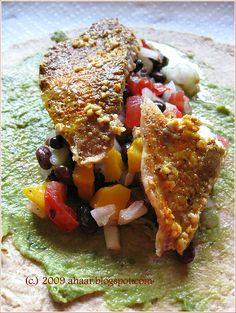 Fish wrap with mango salad. Recipe at ahaar.blogspot.com