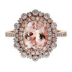 EFFY® Morganite & 1/2 ct. tw. Diamond Ring in 14K Rose Gold