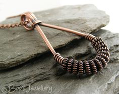 Antiqued copper coiled spiral teardrop necklace - 20108f