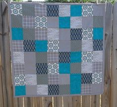 Blue Grey Baby Quilt Modern Baby Quilt Modern by TakeTwoBabyQuilts, $48.00