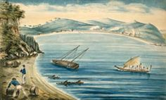 Kororāreka in 1838 showing pākehā men shifting barrels and working on a sail boat. By T. R. G. Mesnard. From the Alexander Turnbull Library ref. A-234-010.