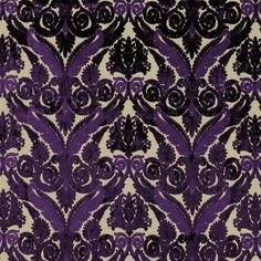 "Designers Guild Fabrics "" Stuart Damask Amethyst"" Cut Velvet Upholstery Fabric, From Jane Hall Design"