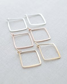Small Square Hoop Earrings by Olive Yew. Handmade and  hammered in silver, gold and rose gold.