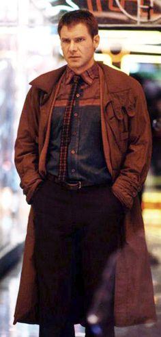 Harrison Ford as Rick Deckard in Blade Runner (Ridley Scott, Costume Designer: Michael Kaplan Film Blade Runner, Blade Runner 2049, Sean Young Blade Runner, Martin Scorsese, Alfred Hitchcock, Stanley Kubrick, Deckard Blade Runner, Harrison Ford Blade Runner, Michael Kaplan