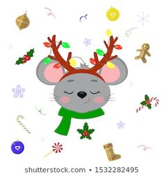 Happy new year and merry christmas cute mice or vector image on VectorStock Christmas Border, Christmas Tree Toy, Christmas Frames, Christmas Banners, Christmas Lights Garland, Snowflake Garland, Snowflake Decorations, Merry Christmas Vector, Christmas Doodles