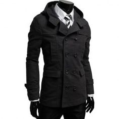$23.16 Fashion Style Solid Color Hooded Double-Breasted Long Sleeves Polyester Coat For Men
