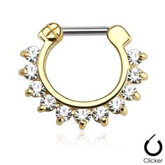 Septum Clicker Gold Single Line Pronged Gems  Surgical Steel Bar Nose Jewelry Body Jewelry