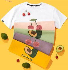 Cherry and Avocado Tshirt – Pennycrafts Uni Outfits, Outfits Mujer, Korean Outfits, Tshirt Photography, Clothing Photography, Korean Fashion, Kids Fashion, Cute Korean, Cute Tshirts
