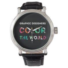 Graphic designer gift. Color the world. Wrist Watch - accessories accessory gift idea stylish unique custom