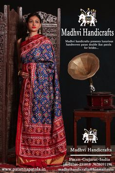 Madhvi handicrafts The famous handicrafts of patan double ikat patola Blue mavaratna design For inquiries Whatsapp 9638091196 Phulkari Saree, Ikkat Silk Sarees, Indian Beauty Saree, Indian Sarees, Indian Attire, Indian Wear, Indian Dresses, Indian Outfits, Ethinic Wear