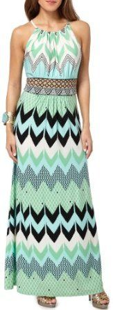 London Times Chevron Pattern Halter Maxi Dress