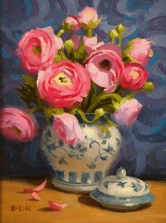 """Laurie Kersey, """"Pink Ranunculus,"""" Oil on canvas 8"""" x 6"""""""