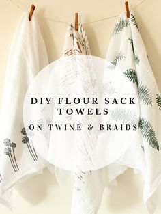 DIY Flour Sack Towels // Tea Towels // Dish Towels // Stamps and Stencils by Twine & Braids                                                                                                                                                      More