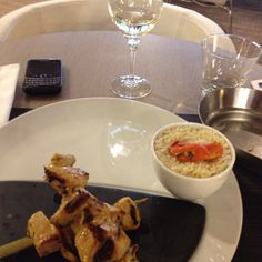 Chicken Kebabs, Pilaf Rice and a glass of Chablis