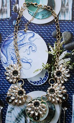 Lustrous Winter Blooms Statement Necklace - Conversation Pieces