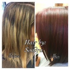 Goldwell Max Red Colors give a beautiful result! Sondra's client wanted a cool red with purple hues. After the haircut design, Sondra used Redken Align during the blowdry (protective, anti-frizz hair smoothing lotion), and Aquage Heat Sealing Spray during flat ironing.