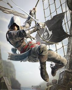 Poster affiche Assassin's Creed Black Flag A l'abordage ! Assasing Creed, All Assassin's Creed, Assassins Creed 3, Deutsche Girls, Video Minecraft, Assassin's Creed Black, Assassin's Creed Wallpaper, Connor Kenway, Arte Ninja