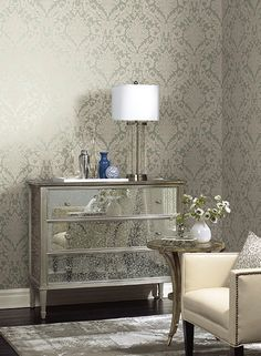 Full Damask Wallpaper design by York Wallcoverings