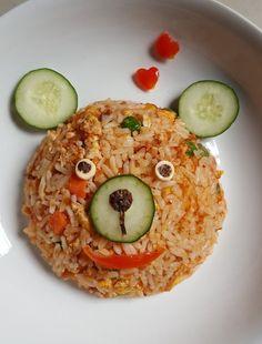 MamaFaMi's Spice n Splendour: Simple Fried Rice Cute Food, Good Food, Yummy Food, Baby Food Recipes, Cooking Recipes, Healthy Recipes, Healthy Food, Food Art For Kids, Food Garnishes