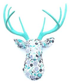 Set the stage for stunning home décor when you mount this majestic stag bust on the wall. Fabric Display, Faux Taxidermy, Shades Of Turquoise, Black Flowers, Modern Wall Decor, Floral Fabric, Picture Wall, Wall Mount, Deer