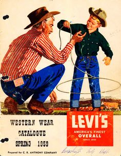 What a great vintage Levi's Poster, cute in a boy's bedroom or man cave or ? Pin Up Vintage, Pub Vintage, Vintage Jeans, Vintage Labels, Vintage Outfits, Vintage Clothing, Retro Poster, Poster Ads, Retro Ads