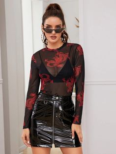 Dragon Print Sheer Mesh Top Without Bra for Sale New Zealand Floral Mesh Top, Sheer Mesh Top, Top Transparent, Dragon Print, Kpop Fashion Outfits, Dressed To Kill, Types Of Sleeves, Clothes For Women, Fashion Black