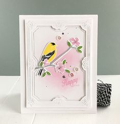 Happy Spring Card by Danielle Flanders for Papertrey Ink (February 2016)