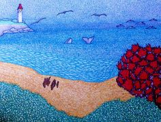 My Canada Ocean View ~ Vue de l'océan - Drawing, in by Suzanne Berton - Drawing, Other Rivage, Canada, Pointillism, Conceptual Art, Watercolor Paper, Lighthouse, Original Art, Art Gallery, Ocean