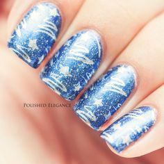 Ozotic - 914 nail polish stamping nail art Cheeky silver christmas tree maniure nail art
