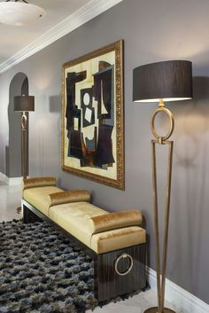 Entry/Foyer - Soft dove gray with gold overtones stylized in a modern setting. Lush and gorgeous.