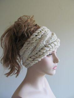 Flower Headbands Ear warmers Crochet Chunky Knit Fall por Lacywork