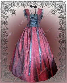 Victorian Edwardian Civil War Steampunk Burgundy Gothic Historical Dress Gown XL #VictorianValentine #BallGown
