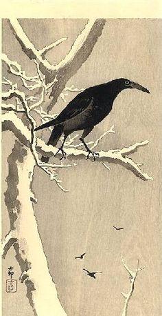 Crow on a Snowy Branch--Koson