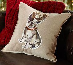 French Bulldog Emboridered Pillow Cover | Pottery Barn