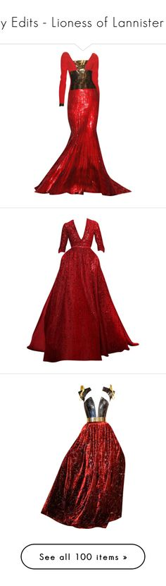 """My Edits - Lioness of Lannister III"" by mlleemilee ❤ liked on Polyvore featuring dresses, gowns, long dresses, red, red ball gown, long red dress, red evening dresses, red evening gowns, vestidos and elie saab"