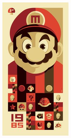 I need this for our Game wall! Tom Whalen inspired by Super Mario Bros. The Old School Video Game Art Show at in Venice, California had over 90 artists create original works inspired by classic video games. Tom Whalen, Video Game Show, Video Game Art, Poster Retro, Vintage Posters, Super Mario Bros, Super Nintendo, Super Mario World, Nintendo Games