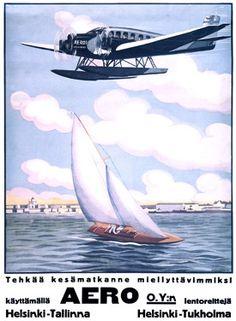 Helsinki Aero Sailboat  Airplane Fine Art Giclee Print